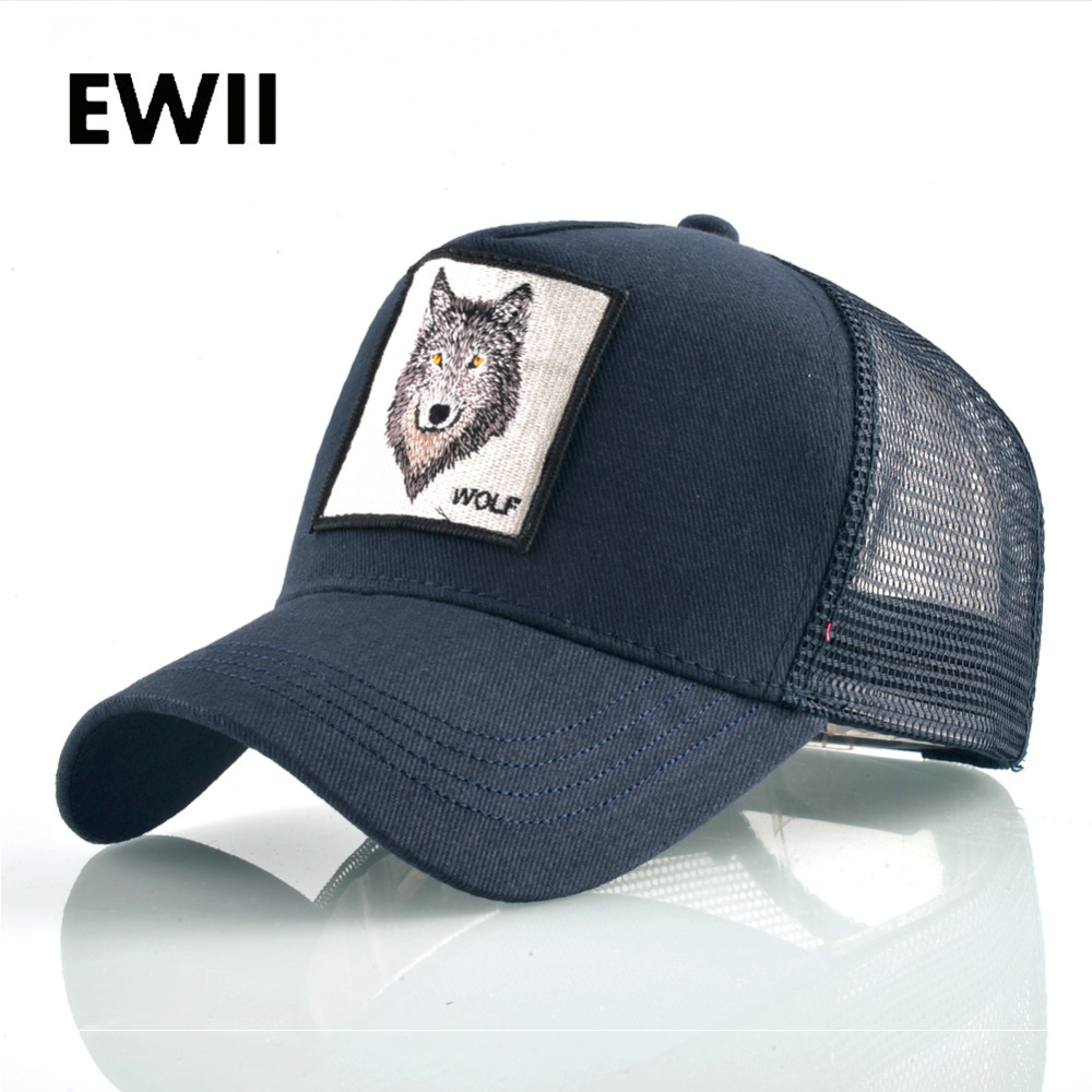 Summer trucker cap mesh snapback hip hop hats for men wolf embroidery baseball caps women full dad hat men bone feminino