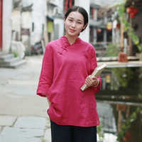 Spring Half Sleeve Blouse Women Tops Cotton Linen Rose Blouses Vintage Shirt Chinese Clothing Blusas Camicia Donna 10441