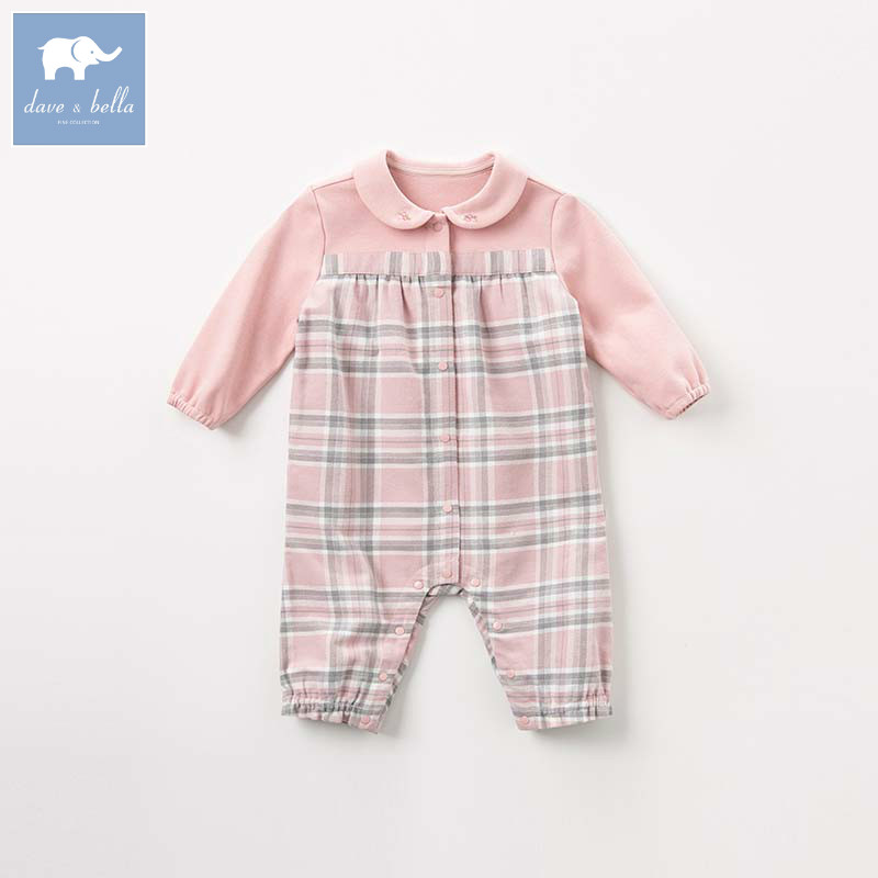 DBM7744 dave bella autumn newborn baby plaid romper infant toddler girls long sleeve romper children boutique