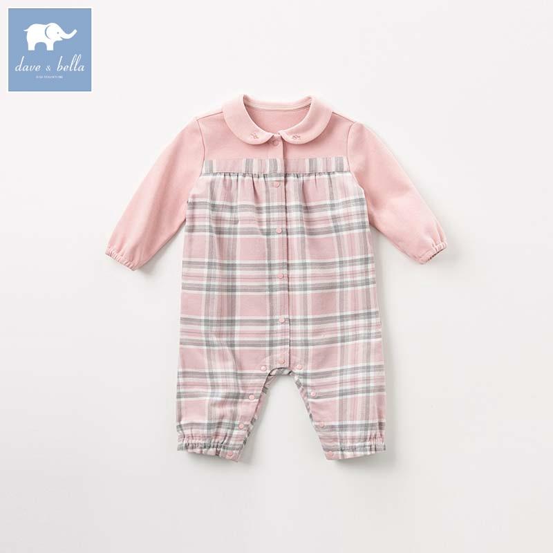 DBM7744 dave bella autumn newborn baby plaid romper infant toddler girls long sleeve romper children boutique