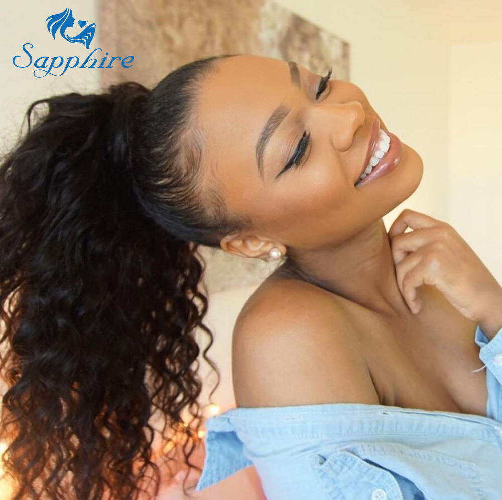 Sapphire Afro Kinky Curly Ponytails Clip Ins Brazilian Virgin Hair Clip In Brazilian Human Hair Extensions
