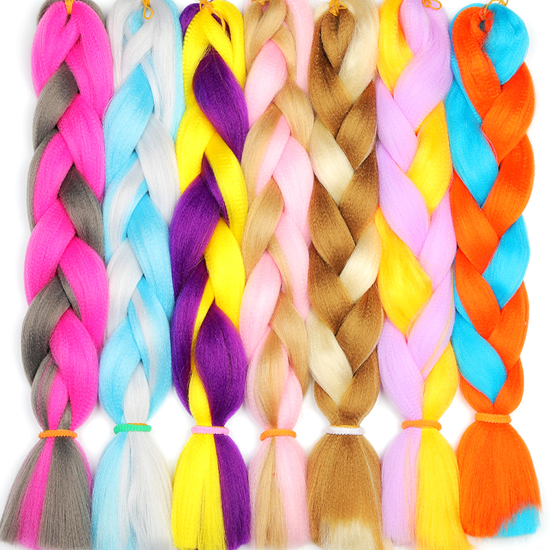 LISI HAIR Synthetic Crochet Braids In Jumbo Braiding Hair One Piece 24 Inch 100g/pcs Pure Color In Hair Extensions