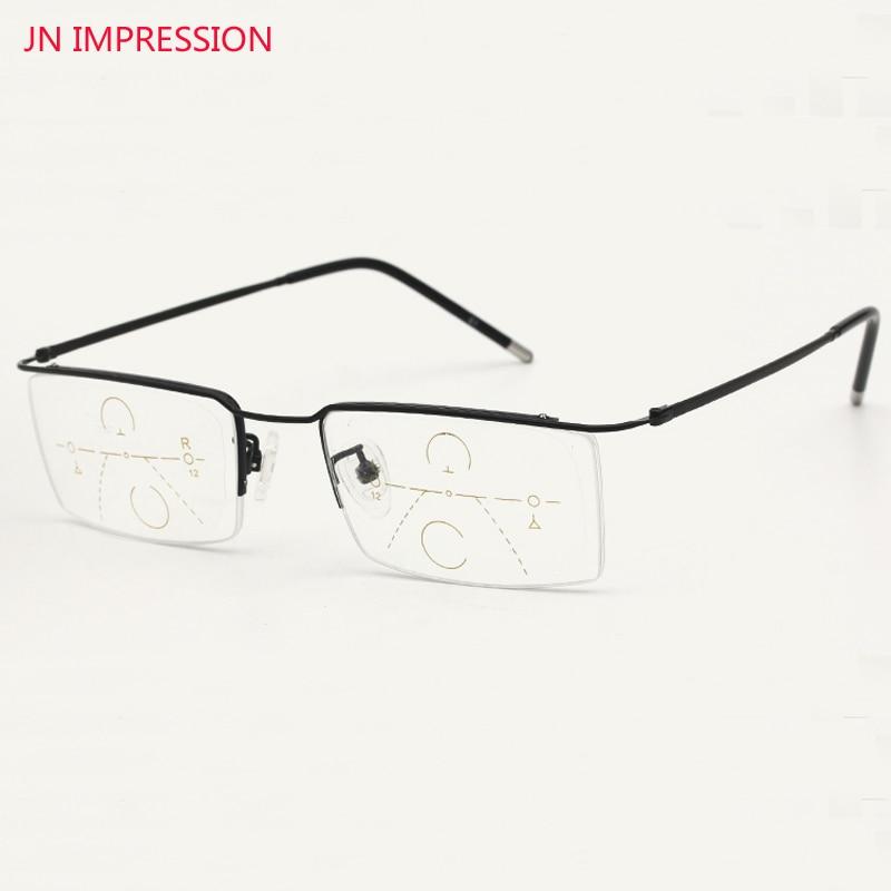 Titanium Alloy Cermin mata Lelaki Zoom Pintar Asymptotically Multi-fokal Progressive Glasses Glasses High Quality Presbyopia 1.0-3.0