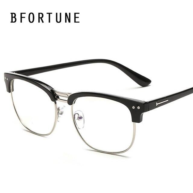 fa0a7af4ece51 BFORTUNE Moda Óculos Vintage Frame Homens Mulheres Óculos de Marca Designer  Retro Óculos Limpar Lens Oculos