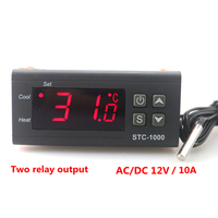 LCD Display Digital Temperature Controller DC12V 10A Two Relay Output Thermostat Calibration Heat Or Cool