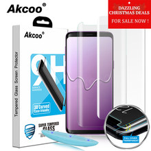 Akcoo S8 Screen Protector with Liquid UV Full Glue Glass Protector for Samsung Galaxy S9 S8 Plus tempered full cover glass film(China)