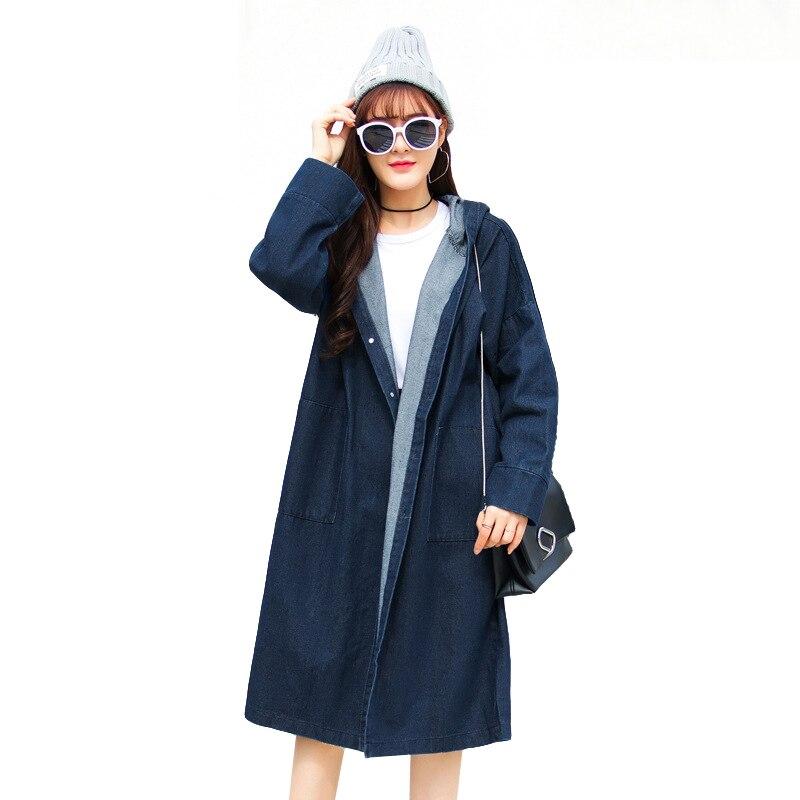 Casual Oversized Denim   Trench   Coat For Women 2019 New Arrival Spring Hooded Long Coat Womens Blue Black Jean Overcoat