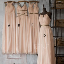 Summer New Scoop Neckline Long Bridesmaid Dresses 2015 Beach Pleated Chiffon with Ribbons A-line Wedding Party Dress Hot
