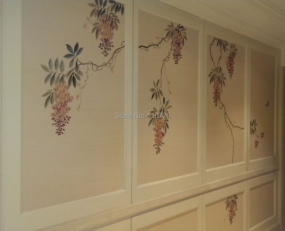 Aliexpress.com : Buy Hand painted silk wallpaper painting ...