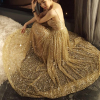 2018 New Women Fashion Dress Spaghetti Strap V neck Backless Sequined Golden Dress Sexy Party Dress Vestidos Mujer Robe Femme