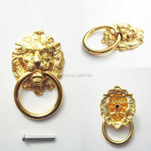 Vintage Decorative Metal Lion Head Furniture Door Cabinet Dresser Drawer Pull Handle Knob O Ring 5 length screw can be choose