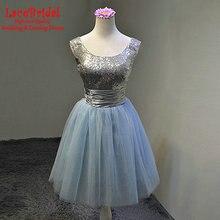 Elegante Blaue Eine Linie Silber Pailletten Mini Cocktailkleider 2016 Formelle Kurze Partei Mädchen Prom Kleider robe de cocktail TE50