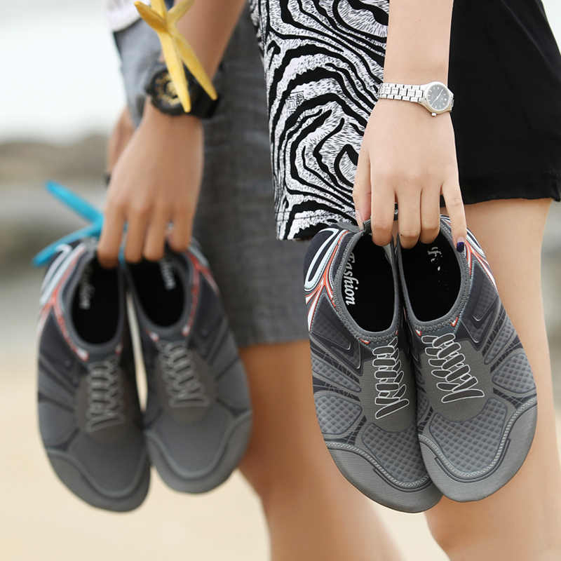 9aa35aa80059f Couple Upstream Aqua Shoes Beach Water Sports Surfing Diving Swimming  Sneaker Quick Drying Summer Seaside Shoes
