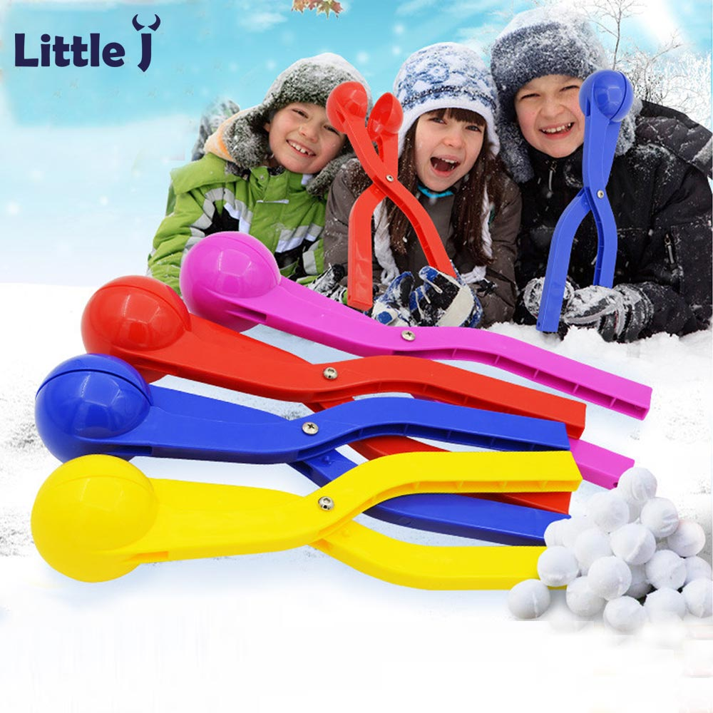 Little J 1Pc 36cm Winter Shaped Snow Clay Ball Maker Outdoor Sports Sand Mold Tool Kids Toy Snow Scoop Maker Clip Random Color
