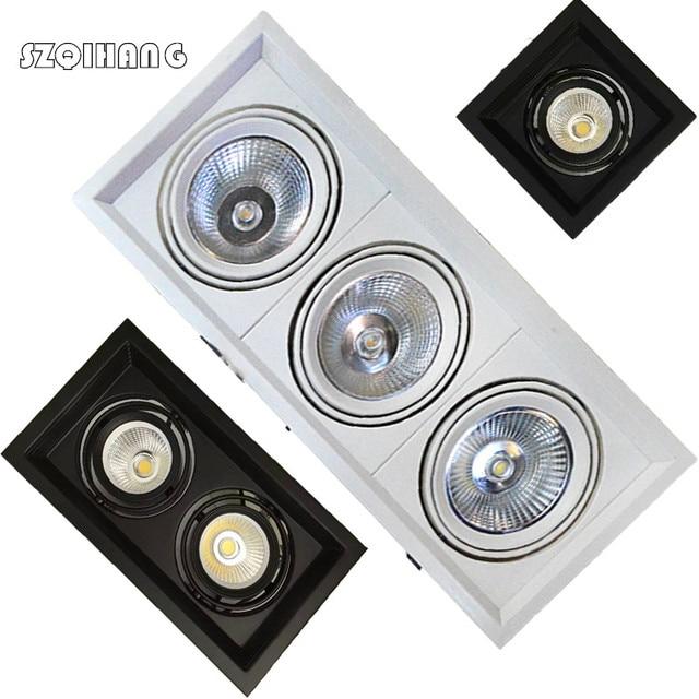 Super Bright Recessed square LED Downlight COB 10W/2*10W/3*10W LED Spot light LED decoration Ceiling Lamp LED Grille Lights