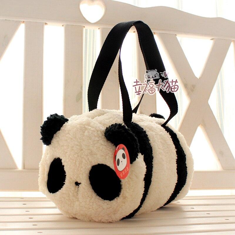 Free shipping 1pc 30cm holiday sale super cute panda cartoon plush toy baby bag cylinder handbag kids birthday gift
