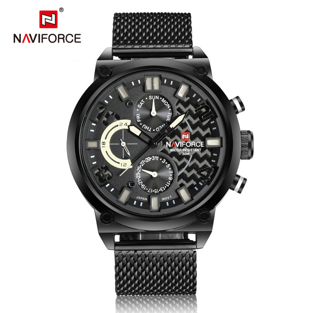 NAVIFORCE 2016 Sports Mens Watches Top Luxury Brand Men's Quartz Analog Date Clock Man Army Casual Full Steel Man Wrist Watches