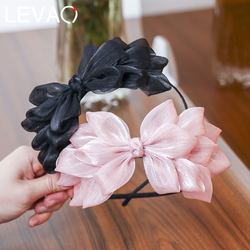 Levao Hot Ribbon Big Bow Floral Shining Hair Band Womens Hair Accessories Hair Hoop Black Pink Girls Flower Lace Bow Head Band