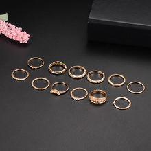 X&P 12 pcs/set Charm Gold Color Midi Finger Ring for Women Girl Boho Knuckle Party Rings Punk Jewelry