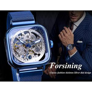 Image 3 - Forsining Blue Watches For Mens Automatic Mechanical Fashion Dress Square Skeleton Wrist Watch Slim Mesh Steel Band Analog Clock