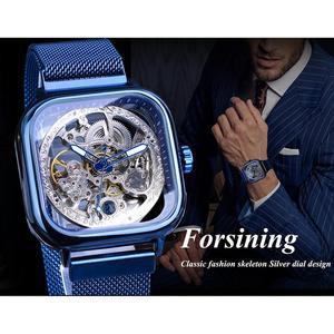 Image 3 - Forsining bleu montres pour hommes automatique mécanique mode robe carré squelette montre bracelet mince maille acier bande analogique horloge