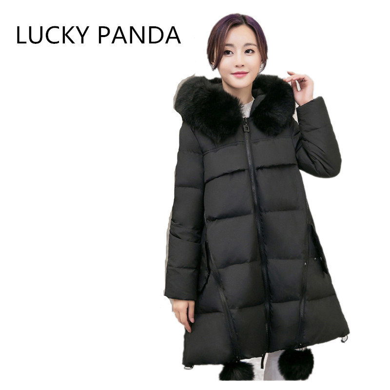 LUCKY PANDA 2016 WOMAN  new winter cotton big fur cap in the long section of thick coat jacket  LKB188 sky blue cloud removable hat in the long section of cotton clothing 2017 winter new woman