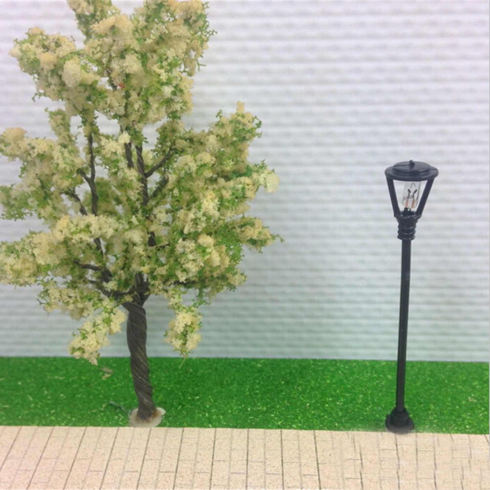 10 sztuk modelu lampy ogrodowe skali 1:100 czarny Model układ pojedyncza reflektory przednie latarni światło krajobrazu modelu dekoracji miniatury