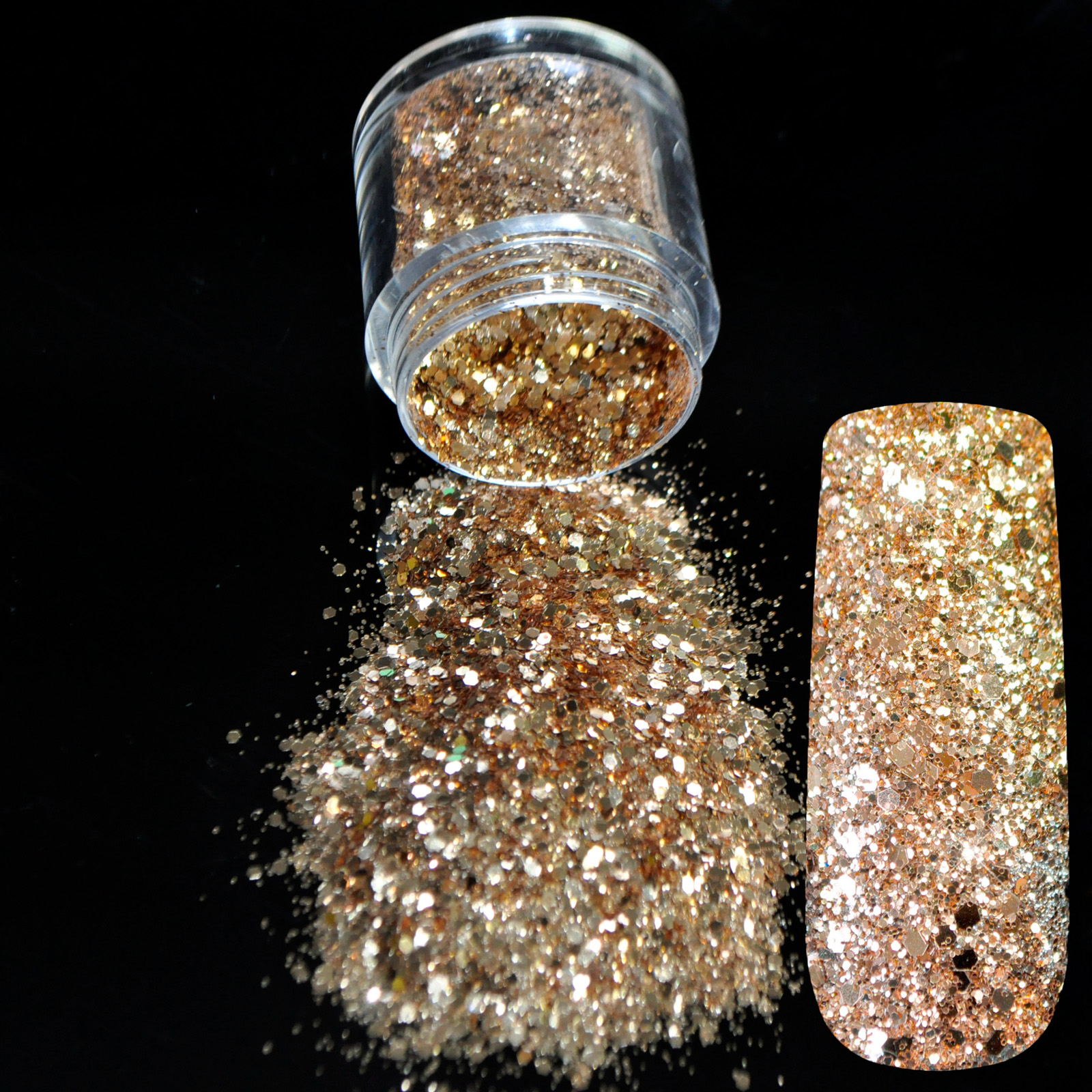3D Ukuran Campuran Sparkly Light Brown Glitter UV Powder Lembar Acrylic Nail Art Tip Tubuh Shimmer Powder Dekorasi 273