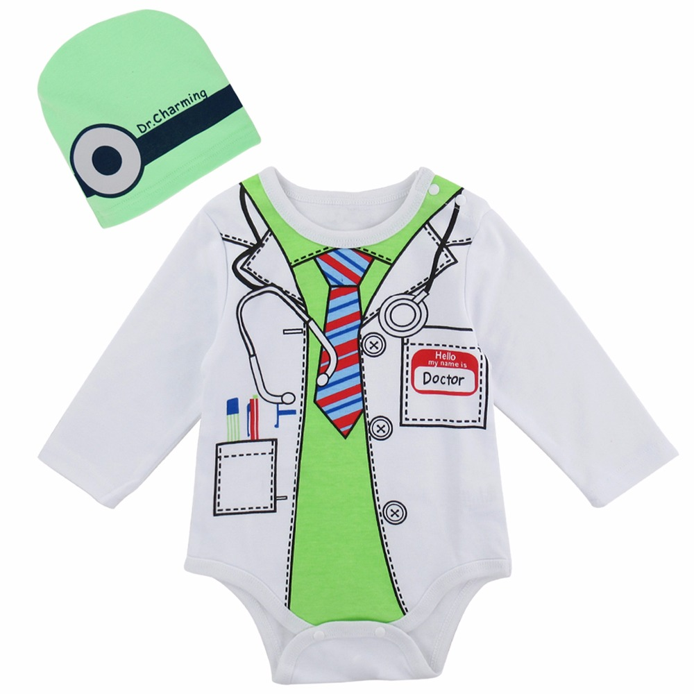 Baby Boy Costume Newborn Bodysuit Infant Doctor Cosplay Playsuit Baby Clothes Set With Hat New Years Costume For Boy Christmas