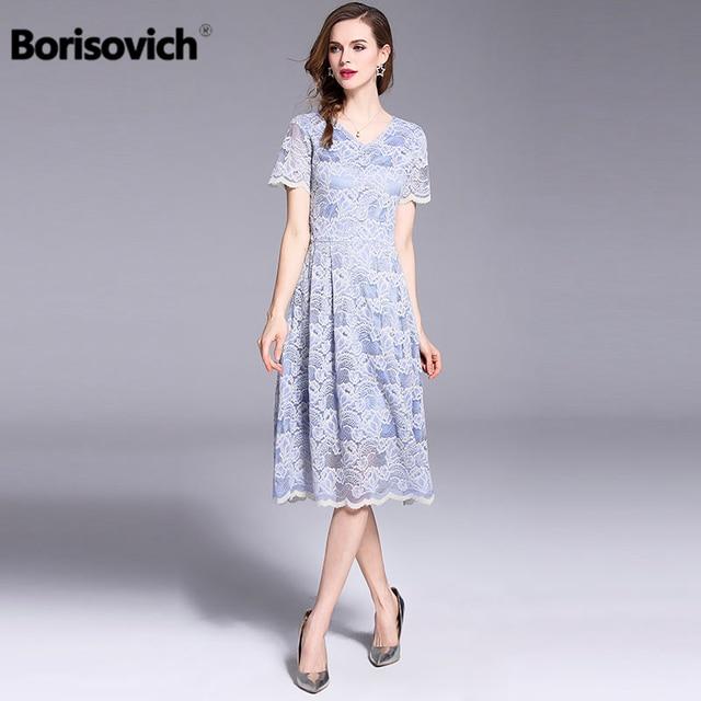 5f796e2bf7 Borisovich Women Fashion Elegant Short Sleeve Lace Ladies Party Dress 2018  New Summer Temperament Plus Size Dress M-4xl M463