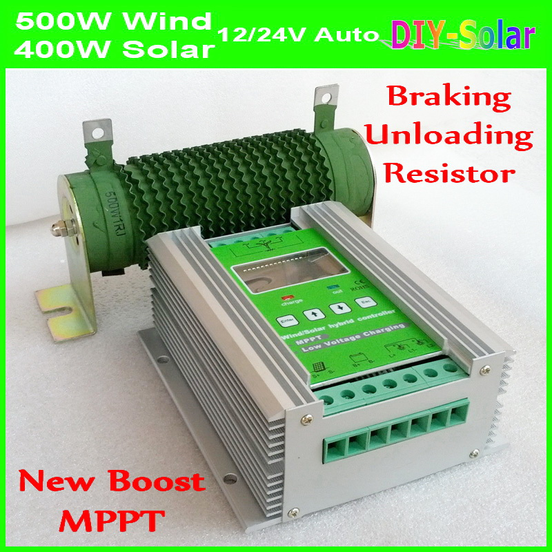 Boost MPPT Wind Solar Hybrid Charge Controller 900W 24V 12V, Wind Turbine 500W +400W Solar MPPT Charge Controller Regulator 50A 600w wind solar hybrid controller 400w wind turbine 200w solar panel charge controller 12v 24v auto with big lcd display