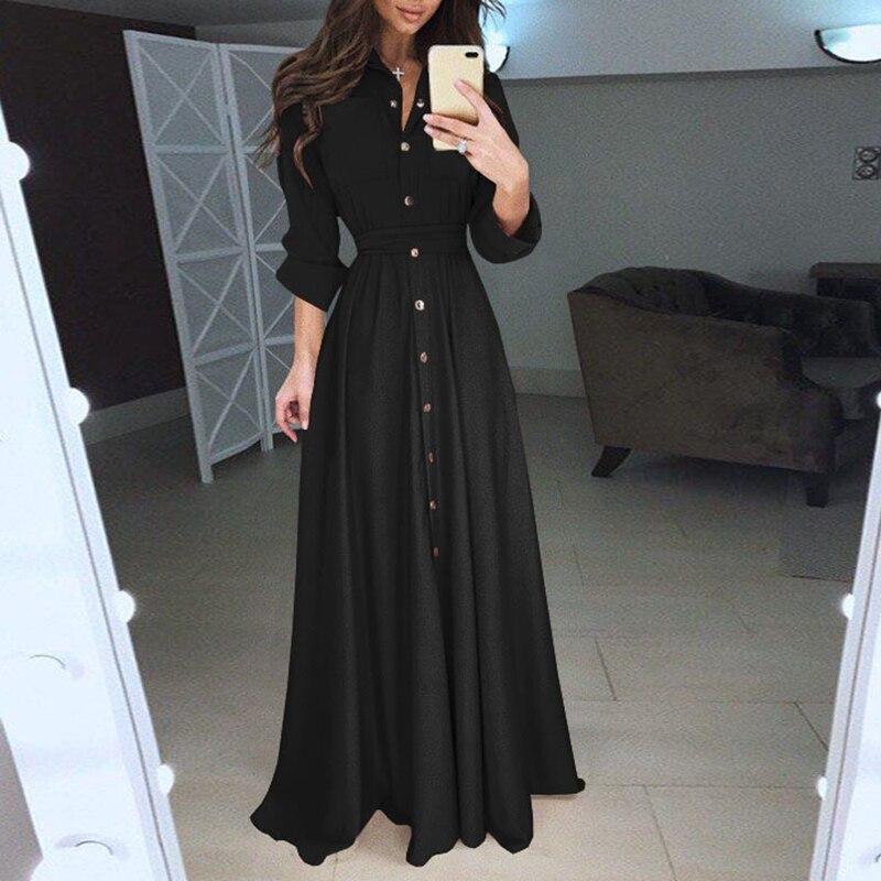 Elegant Women Fashion Long Sleeve Bandage Maxi Shirt Party Dress Ladies Single Breasted Buttons Floor Length Vestidos WS9871E 6