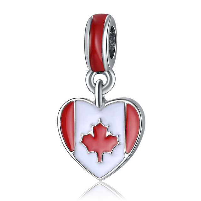 98d997e3c New 925 Sterling Silver Bead Charm Red & White Enamel Canada Heart Flag  Pendant Beads Fit Pandora Bracelet Bangle DIY Jewelry