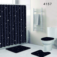 Fashion Bathroom Shower Curtain Waterproof Modern Simplicity Black Carpet Bathroom Toilet Mat Set Anti Slip with Lid Cover 50x80