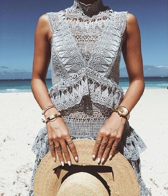 High Quality Self Portrait Dress 2018 women's summer designer sleeveless high waist hollow out lace dress boho vestidos