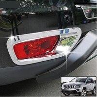 Для Jeep Compass задний хвост противотуманная фара бампер обрамление с хромированной отделкой 2011 2012 2013 2014 2015 2016 рамка автомобильный Стайлинг Ком...
