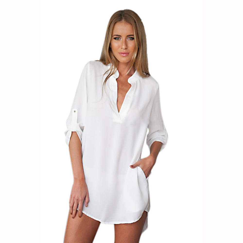 184c7810d827d Compre Blanco Negro Moda Mujer Túnica De Manga Larga Con Cuello En V ...