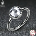 3 Color 925 Sterling Silver Rings White & Blue Big Glass Stone Finger Ring Compatible With VRC Women Jewelry A7182