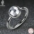 3 Cor 925 Esterlina Anéis de Prata Branco & Azul Mulheres Jóias Anel de Dedo de Pedra Grande De Vidro Compatível Com VRC A7182