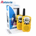 Um par retevis rt-388 mini walkie talkie rádio crianças 0.5 w 8/22ch display lcd amador two-way transceptor de rádio talkly crianças