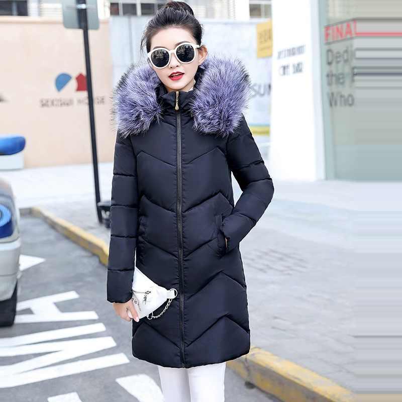 4XL 5XL 6XL Plus Size Vrouwelijke Jas en Jassen Met Bontkraag Capuchon Gewatteerde Winterjas Vrouwen Lange Uitloper Warm basic Jacket