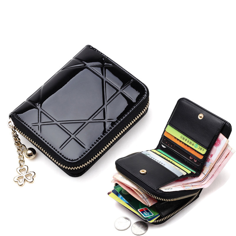 Patent Leather Women Short Wallets Ladies Small Wallet Zipper Coin Purse Pocket Female Wallet Purses Money Bag Women's pu2017 hot sale owl pattern wallet women zipper coin purse long wallets credit card holder money cash bag ladies purses