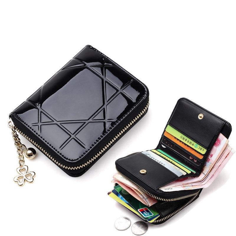 Patent Leather Women Short Wallets Ladies Small Wallet Zipper Coin Purse Pocket Female Wallet Purses Money Bag Women's pu2017