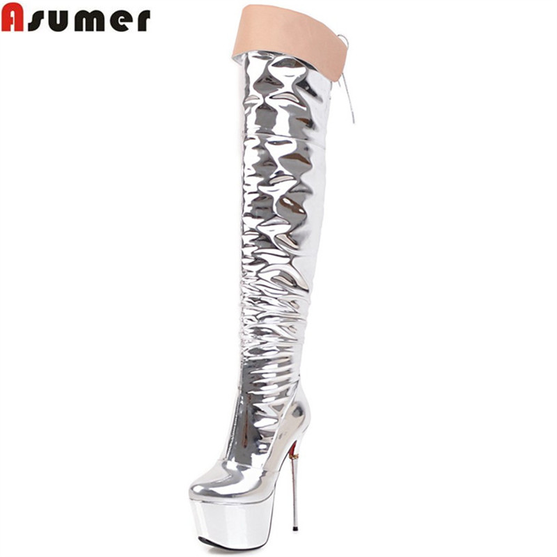 ASUMER 2018 fashion new women boots platform sexy super high thin heel over the knee boots zipper cross tied ladies prom boots nasipal 2017 new women pu sexy fashion over the knee boots sexy thin high heel boots platform woman shoes big size 34 43 g804