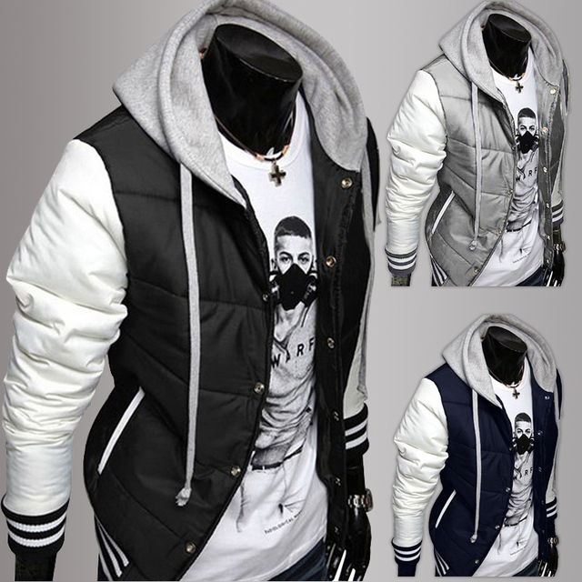 2017 New Fashion Men's Leisure Hooded Spell Color Baseball Style Coat Winter Man Active Casual Parka Cotton Jacket  lxy299