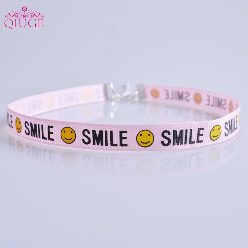 Summer Jewelry Blue Pink White Smile Face Ribbon Choker Necklace Simple Women Girls Cute Kawaii Collar Neck Chokers