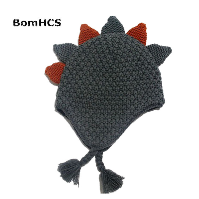 a81e7412b US $12.58 10% OFF|BomHCS Cute Kid's Dinosaur Earmuff Beanie 100% Handmade  Knit Children's Funny Hat for kid age 3 10-in Skullies & Beanies from ...