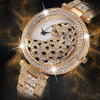 MISSFOX Women Quartz Watch Fashion Bling Casual Ladies Watch Female Quartz Gold Watch Crystal Diamond Leopard For Women Clock 1