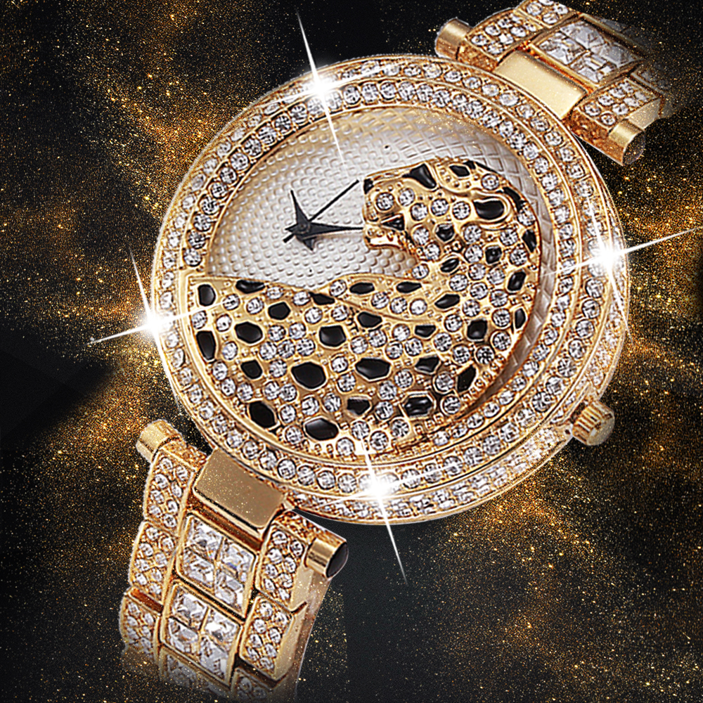 MISSFOX Women Quartz Watch Fashion Bling Casual Ladies Watch Female Quartz Gold Watch Crystal Diamond Leopard For Women Clock