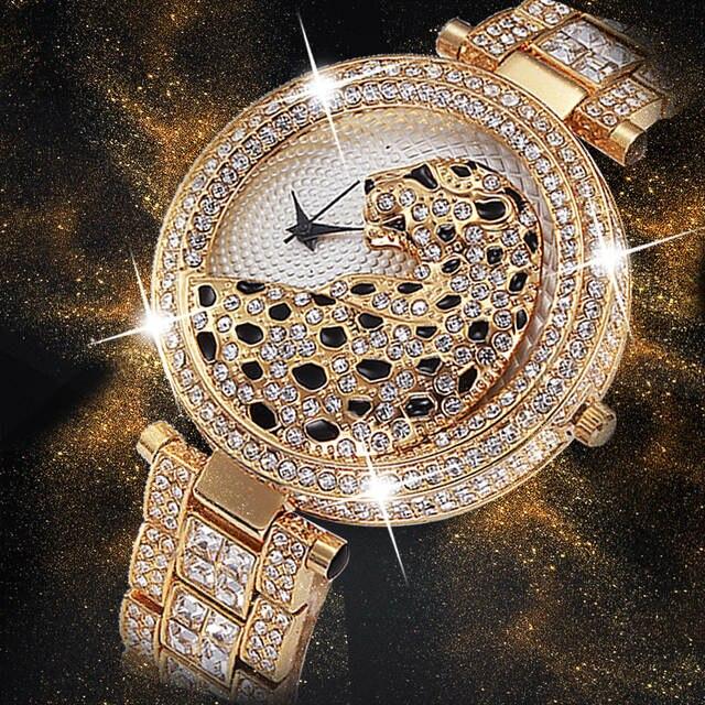 0a14a6cf343 placeholder Miss Fox Bling Diamond Cristal cheio Preto leopardo fêmea relogio  feminino dourado moda prova d